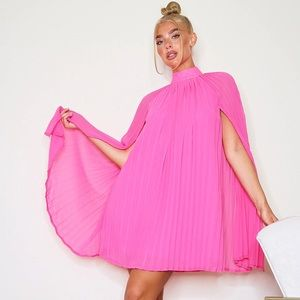 NWT Prettylittlething Pink Pleated Cape Dress